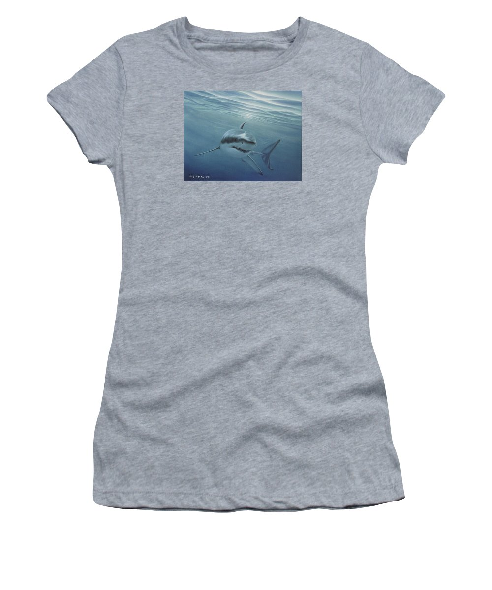 Shark Women's T-Shirt featuring the painting White Shark by Angel Ortiz