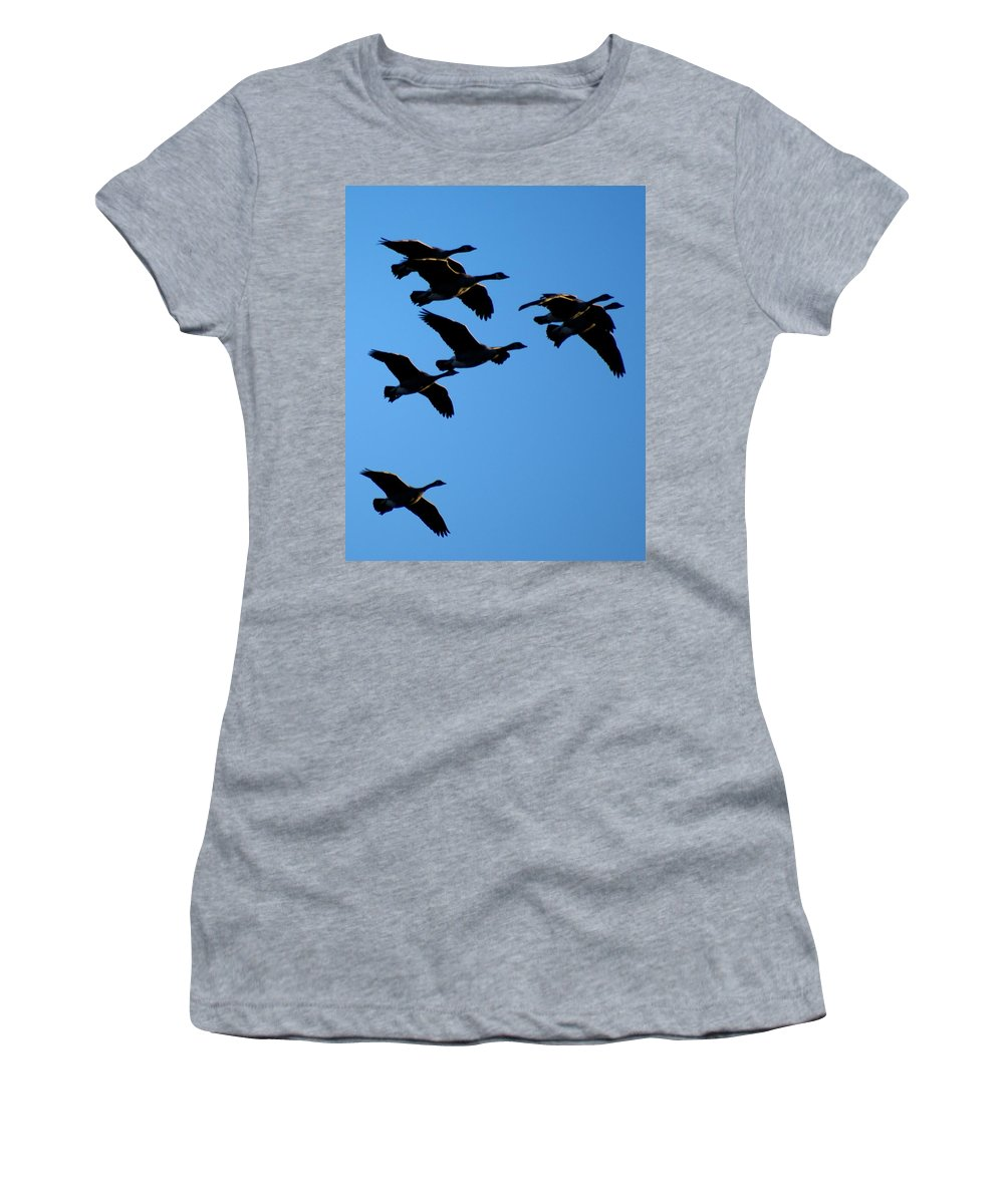 Spokane Women's T-Shirt featuring the photograph Wild Geese In The West by Ben Upham III