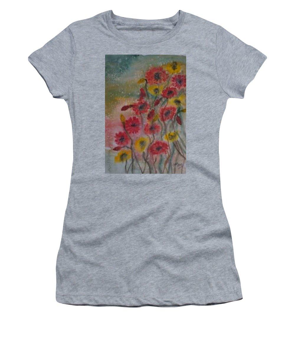 Watercolor Women's T-Shirt featuring the painting WILDFLOWERS still life modern print by Derek Mccrea