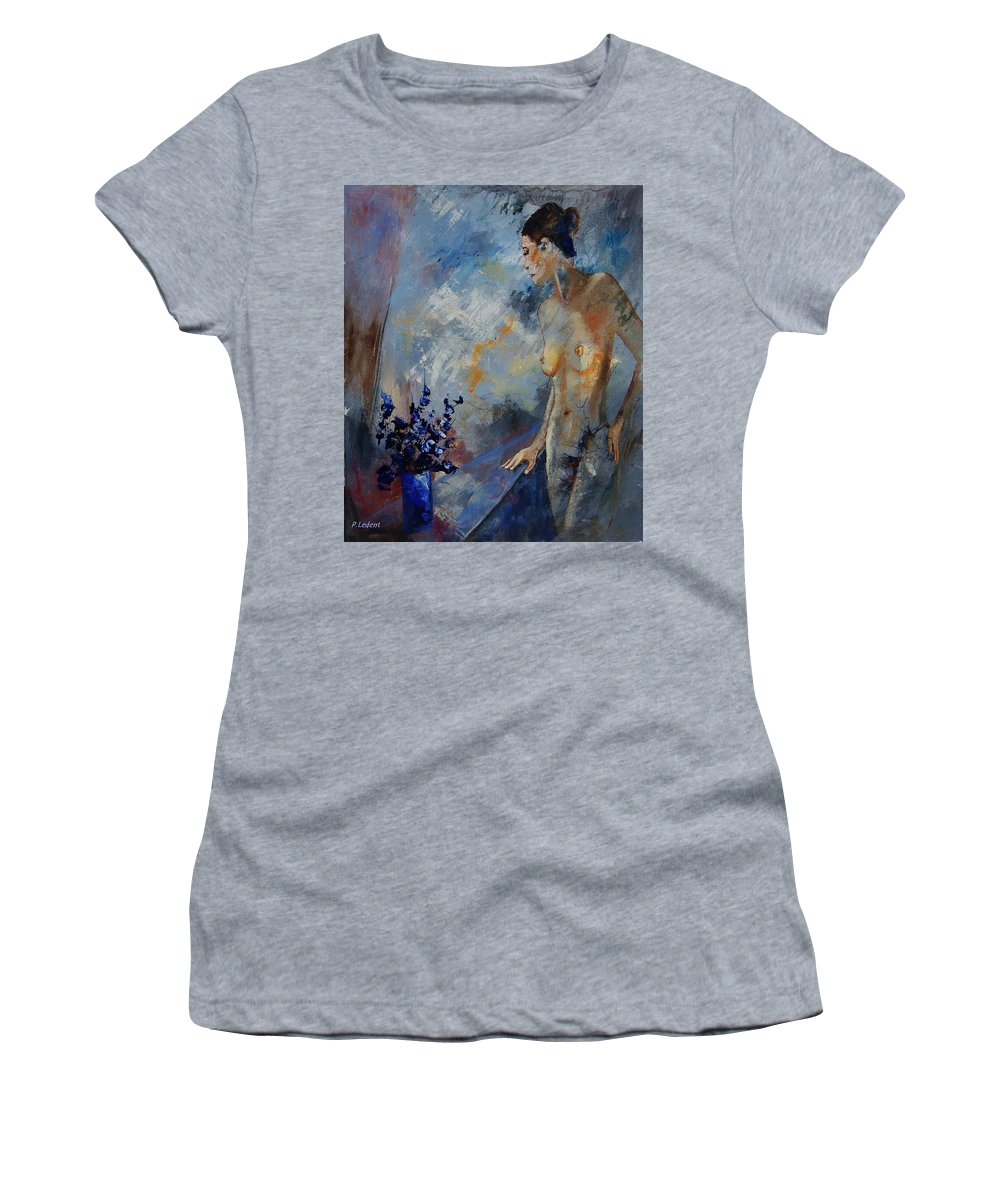 Girl Women's T-Shirt (Athletic Fit) featuring the painting Will He Be Coming by Pol Ledent
