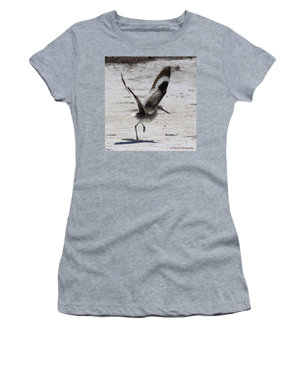 Willet Women's T-Shirt (Athletic Fit) featuring the photograph Willet Take-off by Barbara Bowen