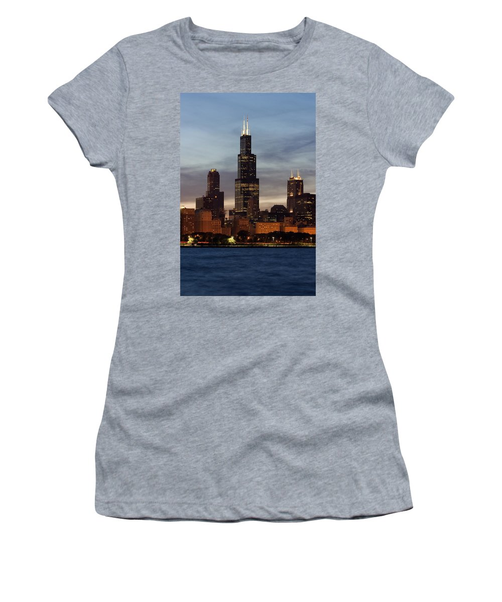 3scape Photos Women's T-Shirt (Athletic Fit) featuring the photograph Willis Tower At Dusk Aka Sears Tower by Adam Romanowicz