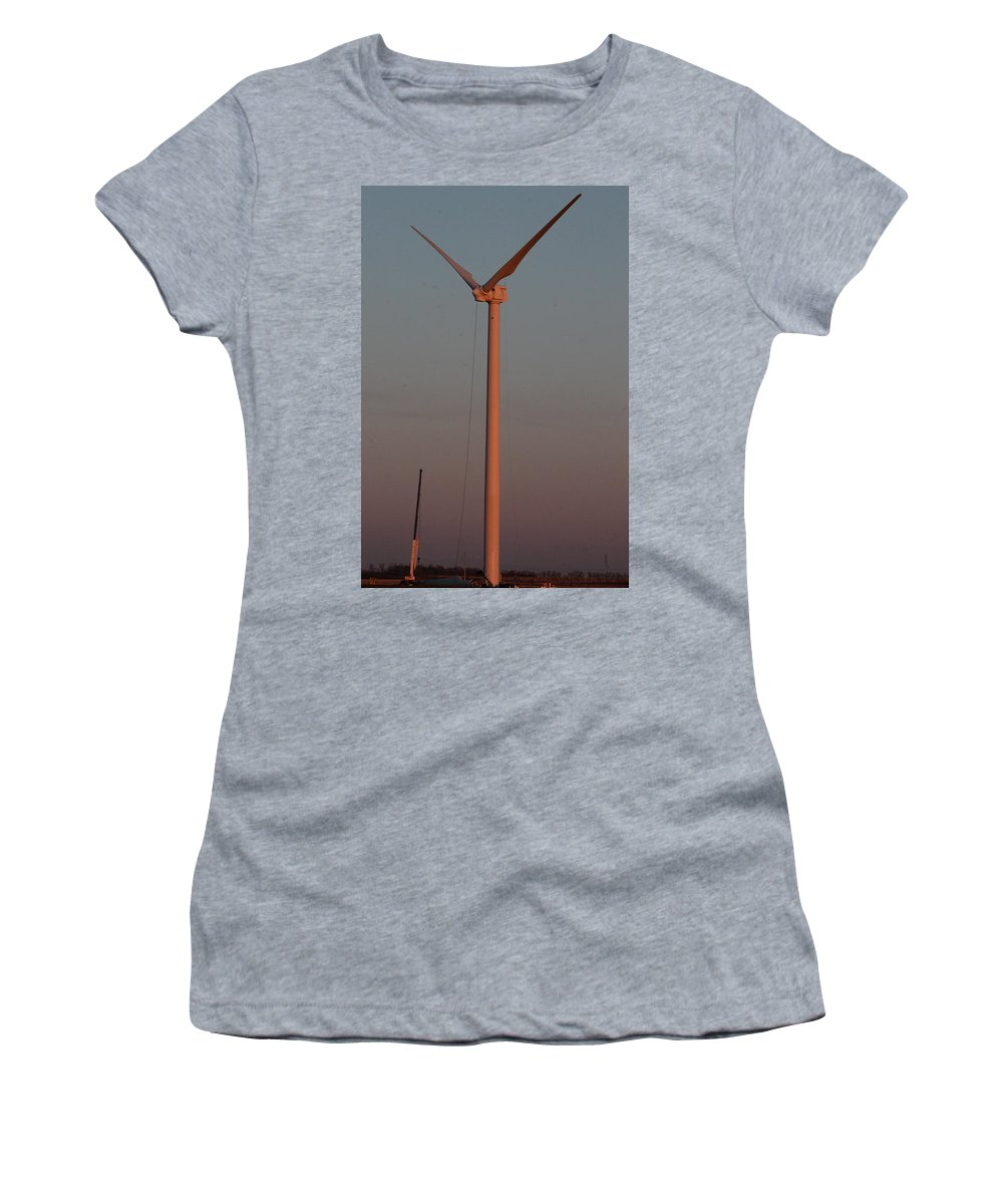 Wind Turbines Women's T-Shirt featuring the photograph Wind Turbine Sunset Work by Wayne Williams