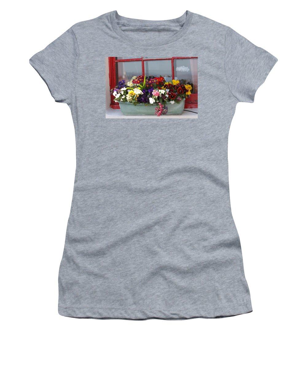 Flowers Women's T-Shirt featuring the photograph Window Flowers by Lauri Novak