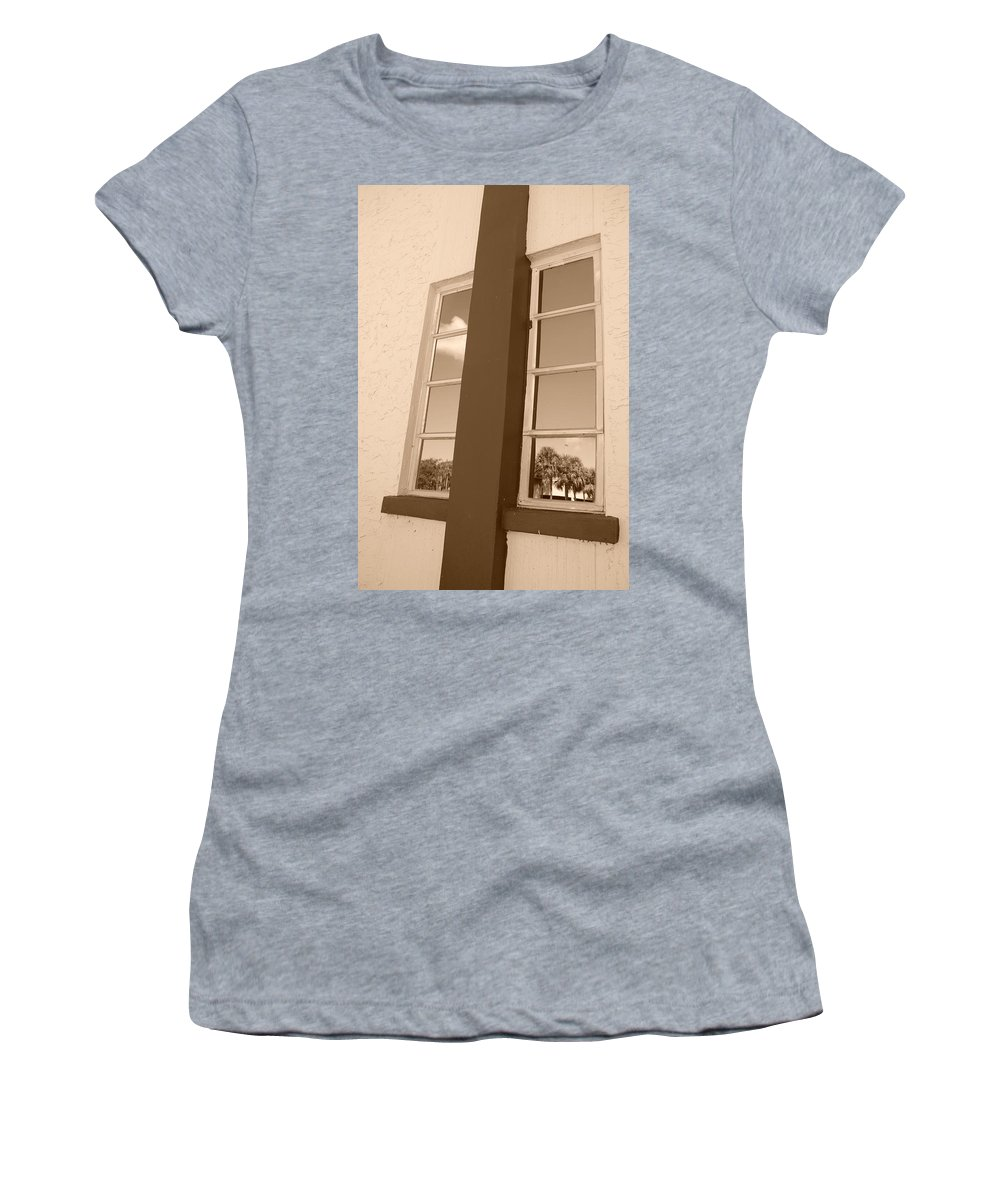 Sepia Women's T-Shirt featuring the photograph Window T Glass by Rob Hans