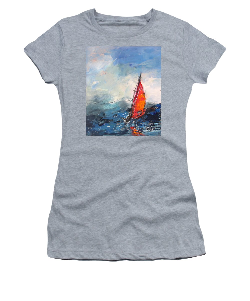 Windsurf Women's T-Shirt (Athletic Fit) featuring the painting Windsurf Impression 04 by Miki De Goodaboom