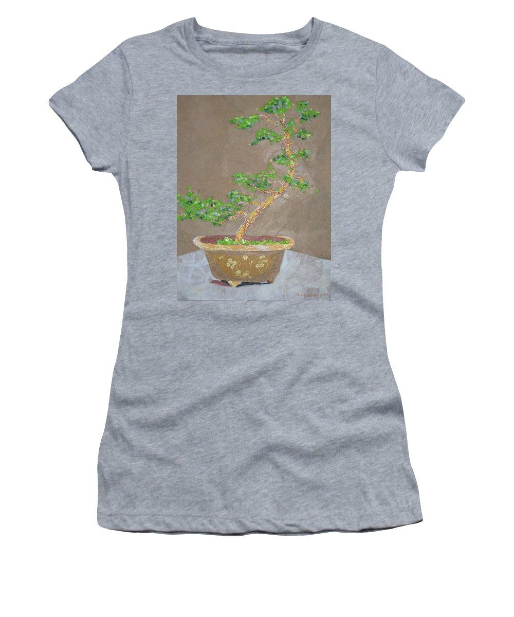 Banzai Tree Women's T-Shirt featuring the painting Windswept Juniper by Leah Tomaino