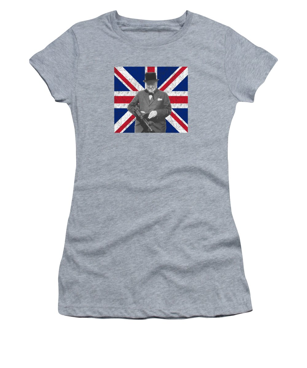 Winston Churchill Women's T-Shirt (Athletic Fit) featuring the painting Winston Churchill And His Flag by War Is Hell Store