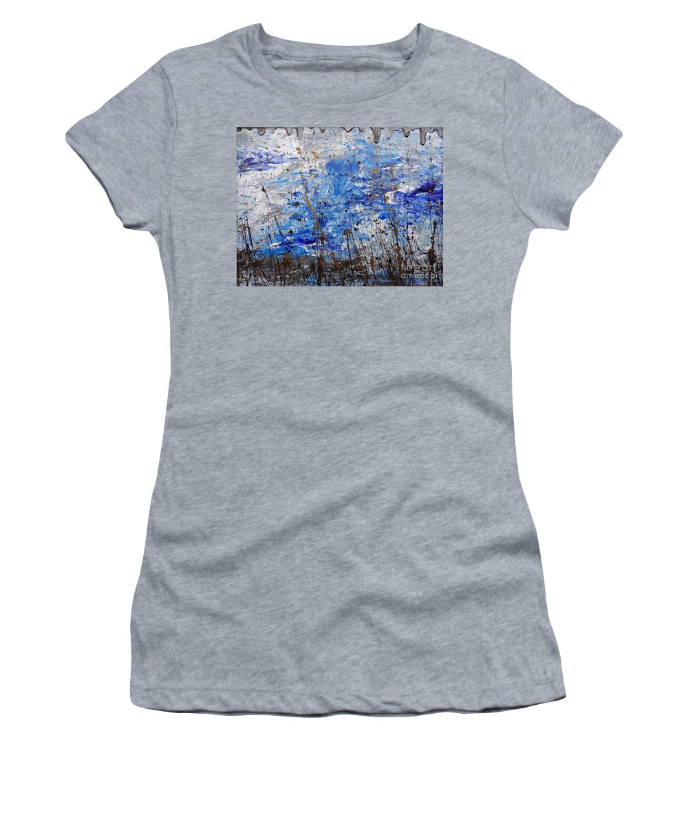 Winter Crisp Women's T-Shirt (Athletic Fit) featuring the painting Winter Crisp by Jacqueline Athmann
