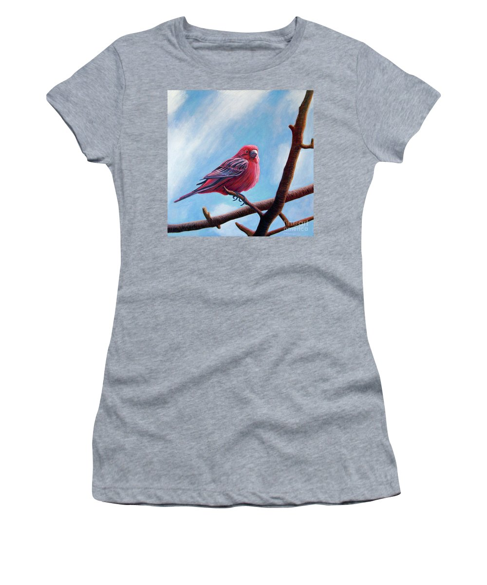 Bird Women's T-Shirt (Athletic Fit) featuring the painting Winter Finch by Brian Commerford