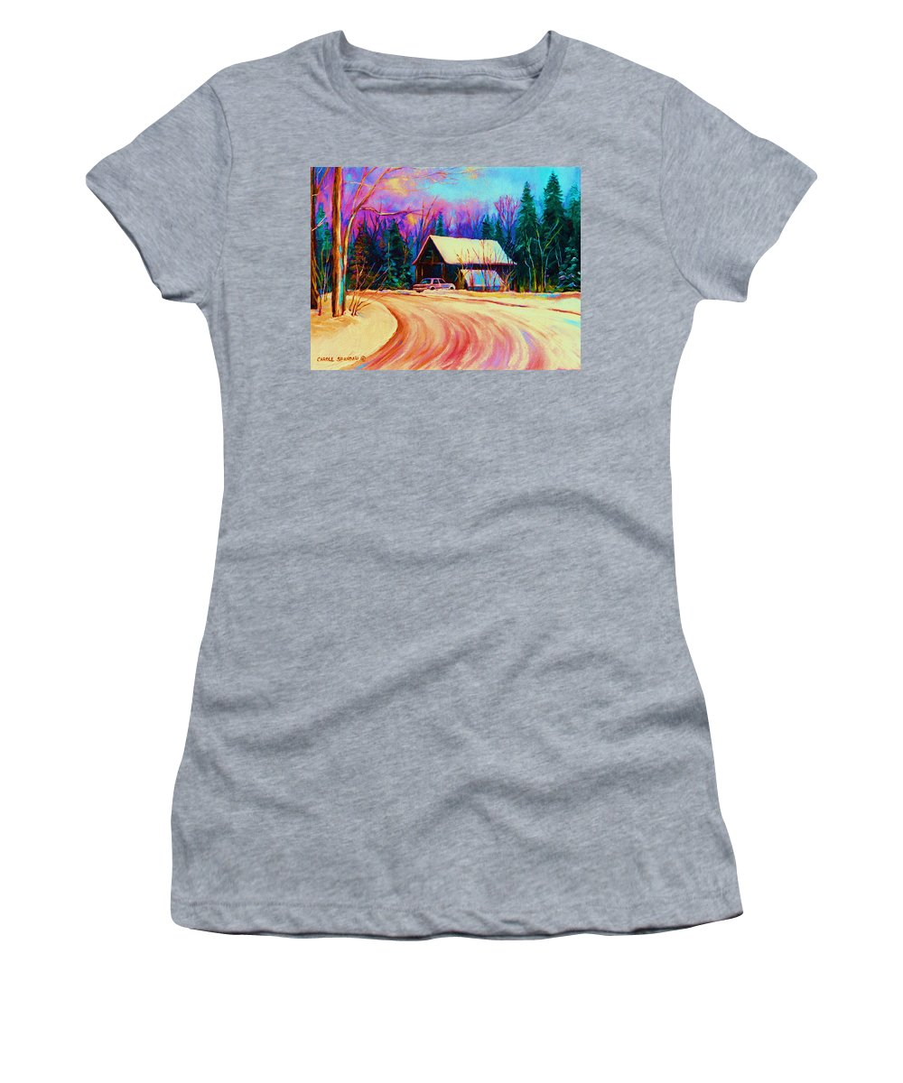 Landscape Women's T-Shirt (Athletic Fit) featuring the painting Winter Getaway by Carole Spandau