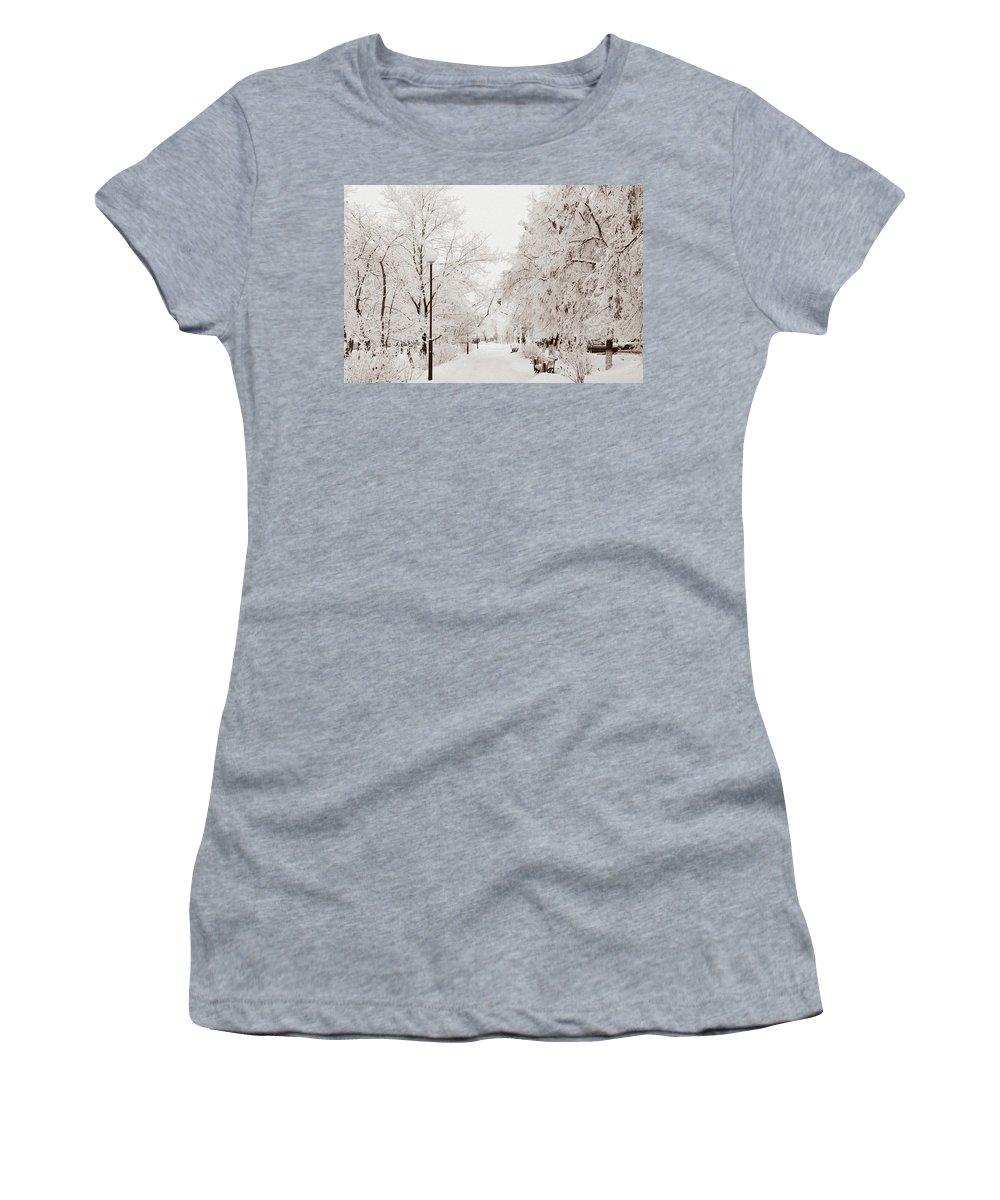 Snow Women's T-Shirt featuring the photograph Winter by Gulnara Darbaeva