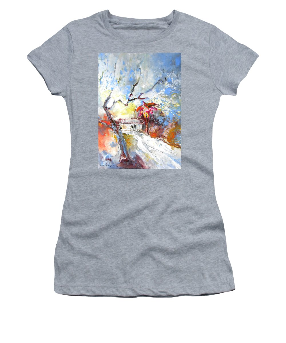Spain Women's T-Shirt (Athletic Fit) featuring the painting Winter In Spain by Miki De Goodaboom
