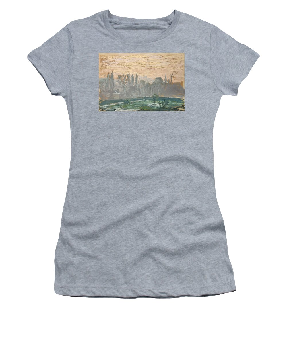 Claude Monet Women's T-Shirt (Athletic Fit) featuring the painting Winter Landscape With Evening Sky by Claude Monet