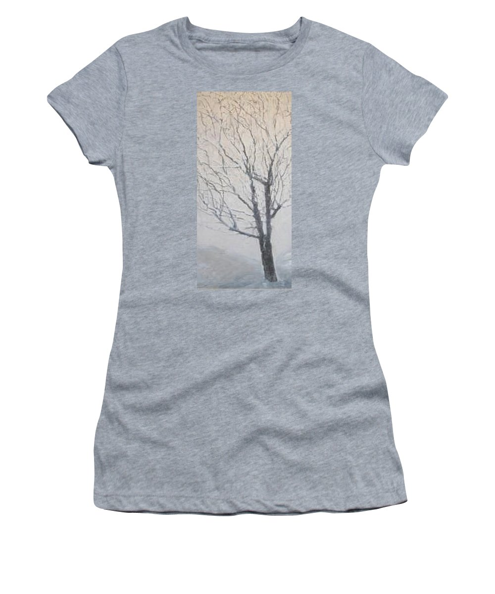 Tree Women's T-Shirt featuring the painting Winter by Leah Tomaino