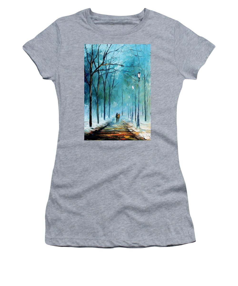 Landscape Women's T-Shirt (Athletic Fit) featuring the painting Winter by Leonid Afremov