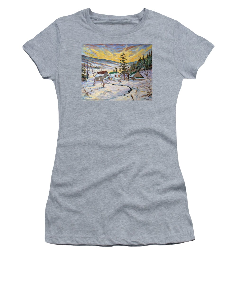 Landscape Women's T-Shirt (Athletic Fit) featuring the painting Winter Lights by Richard T Pranke