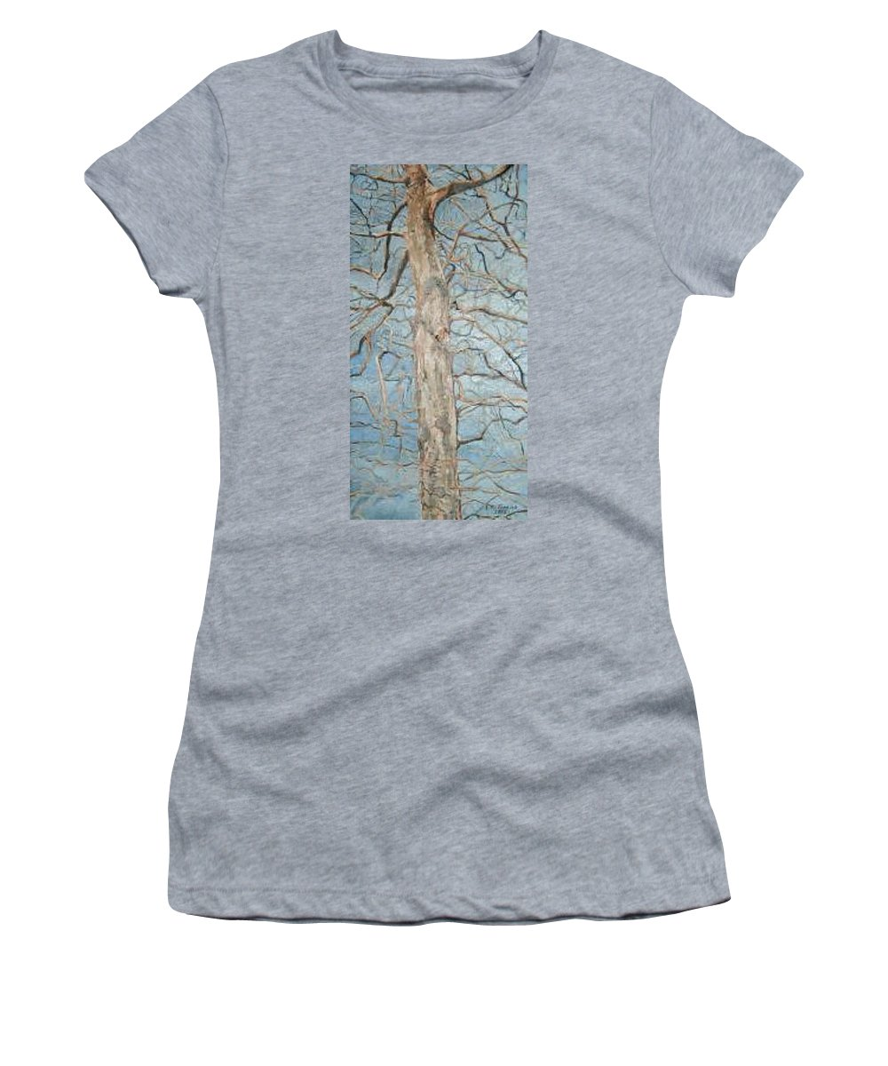 Tree Women's T-Shirt (Athletic Fit) featuring the painting Winter Morning by Leah Tomaino