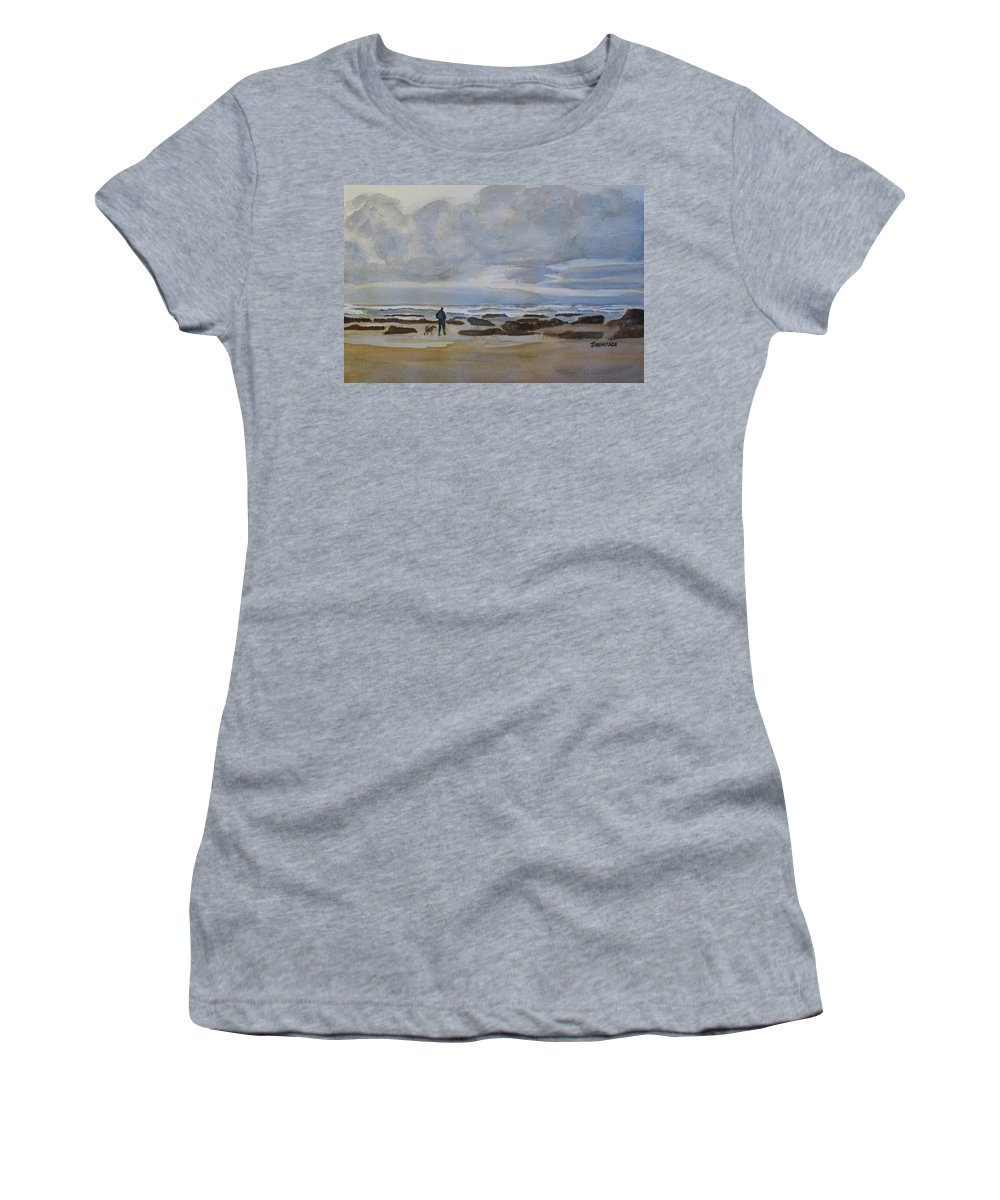 Beach Women's T-Shirt (Athletic Fit) featuring the painting Winter Morning Solitude II by Jenny Armitage