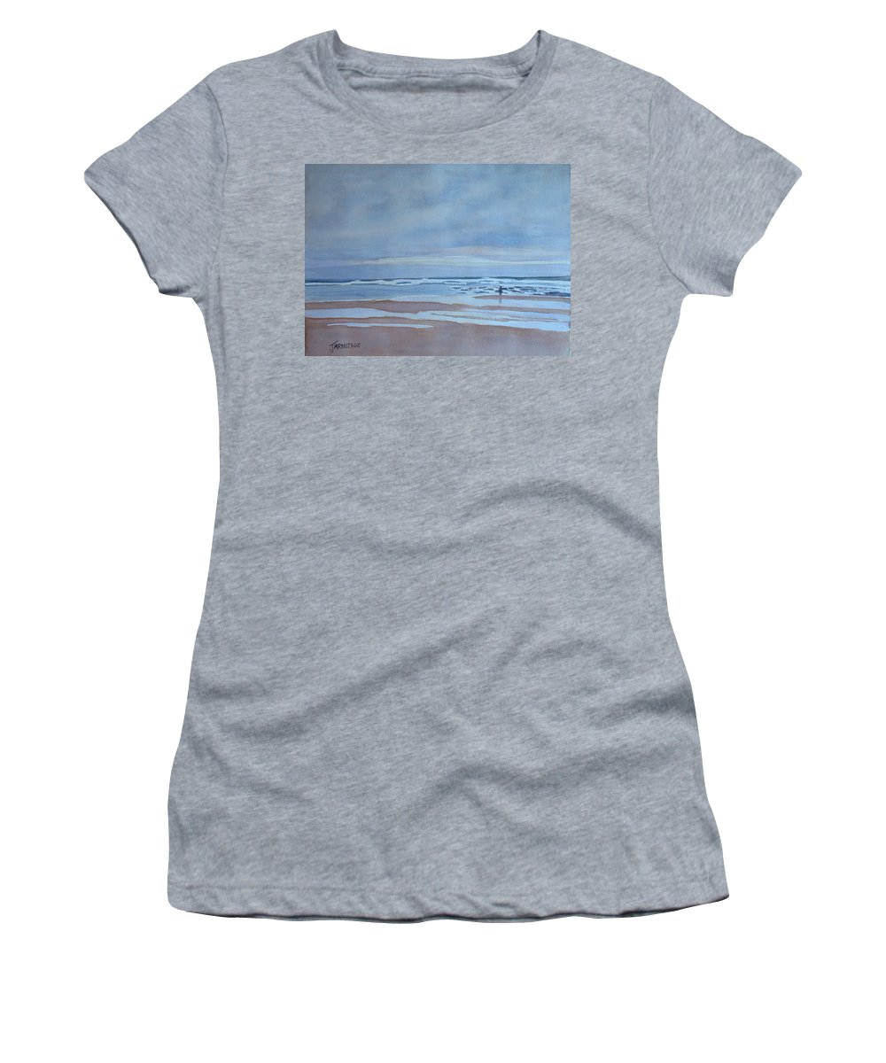Ocean Women's T-Shirt (Athletic Fit) featuring the painting Winter Morning Solitude by Jenny Armitage