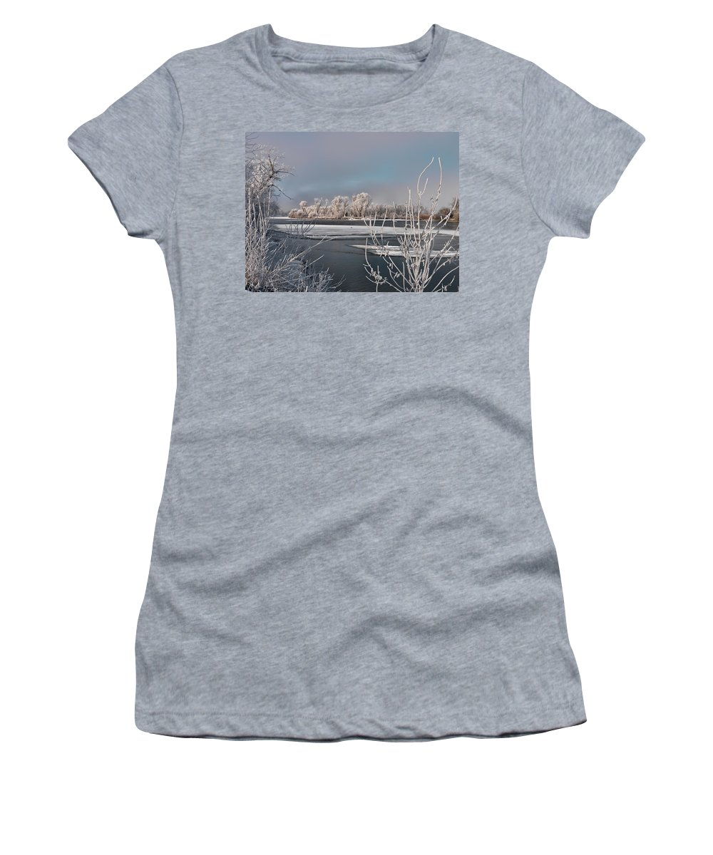 Scenic Women's T-Shirt (Athletic Fit) featuring the photograph Winter River Light by Leland D Howard