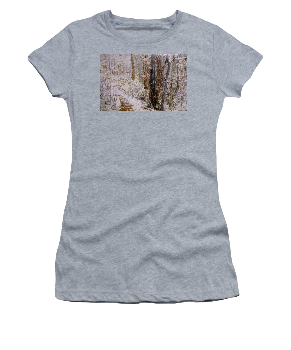 Snow; Trees Women's T-Shirt featuring the painting Winter Wonderland by Ben Kiger