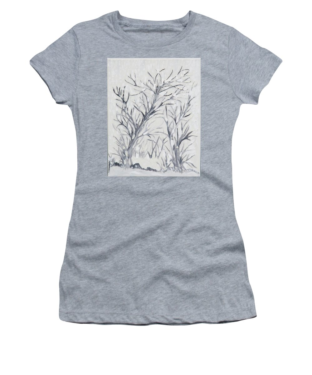 Black And White Women's T-Shirt (Athletic Fit) featuring the painting Winter Wonderland by Nina Lehouillier