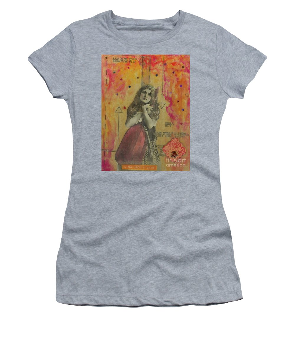 Orange Women's T-Shirt (Athletic Fit) featuring the mixed media Wish Upon A Star by Desiree Paquette