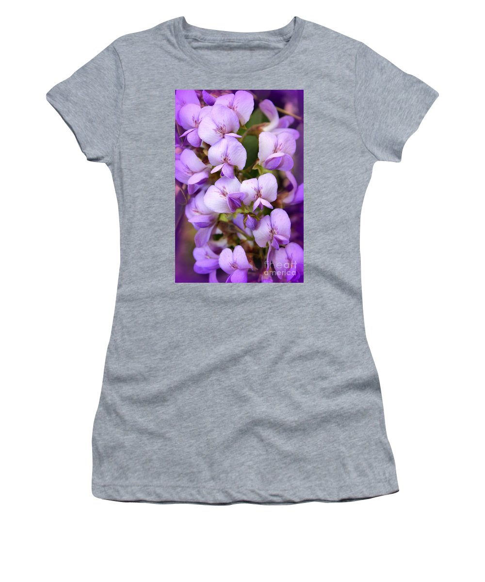 Purple Women's T-Shirt featuring the photograph Wisteria Blossoms by Carol Groenen