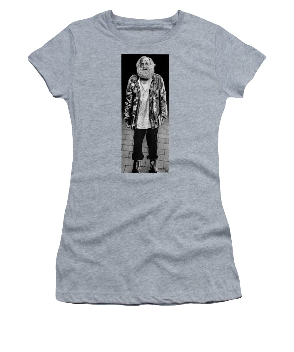 Wondering Soldier Women's T-Shirt (Athletic Fit) featuring the drawing Wondering Soldier by Peter Piatt