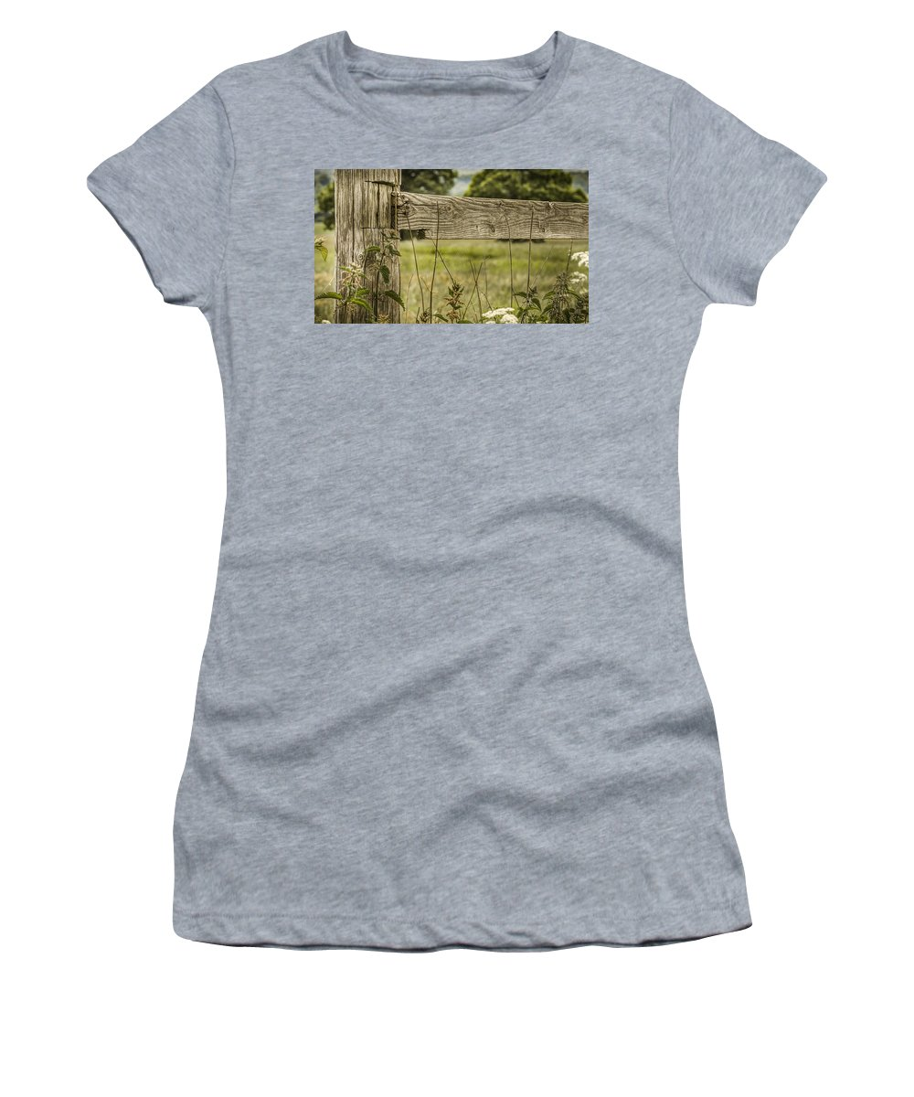 Wooden Fence Post Women's T-Shirt featuring the photograph Wooden Fence Post. by Mike Walker