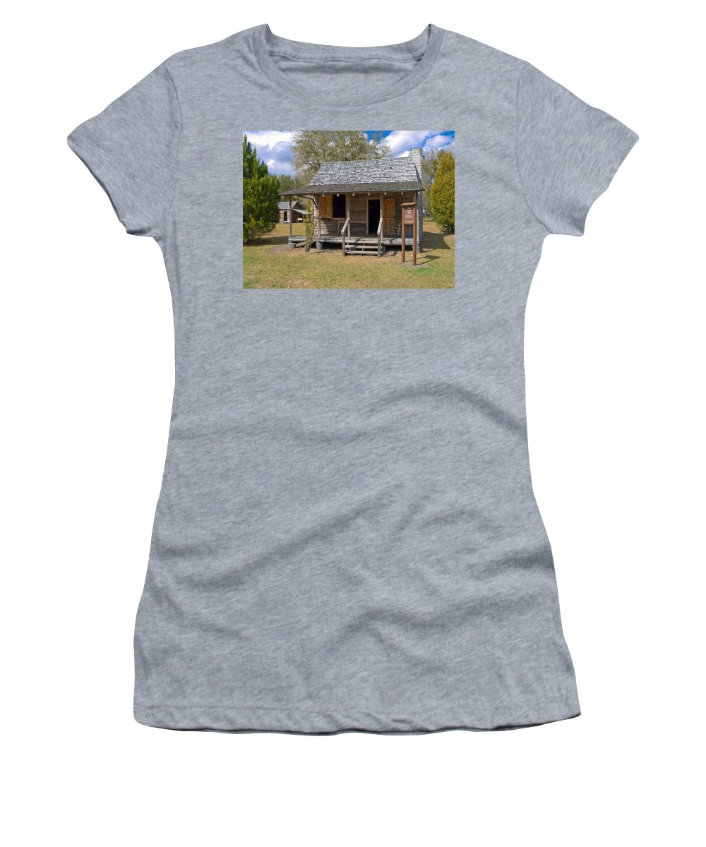 Cabin Women's T-Shirt (Athletic Fit) featuring the photograph Yates Homestead Built In 1893 On Taylor Creek In Central Florida by Allan Hughes