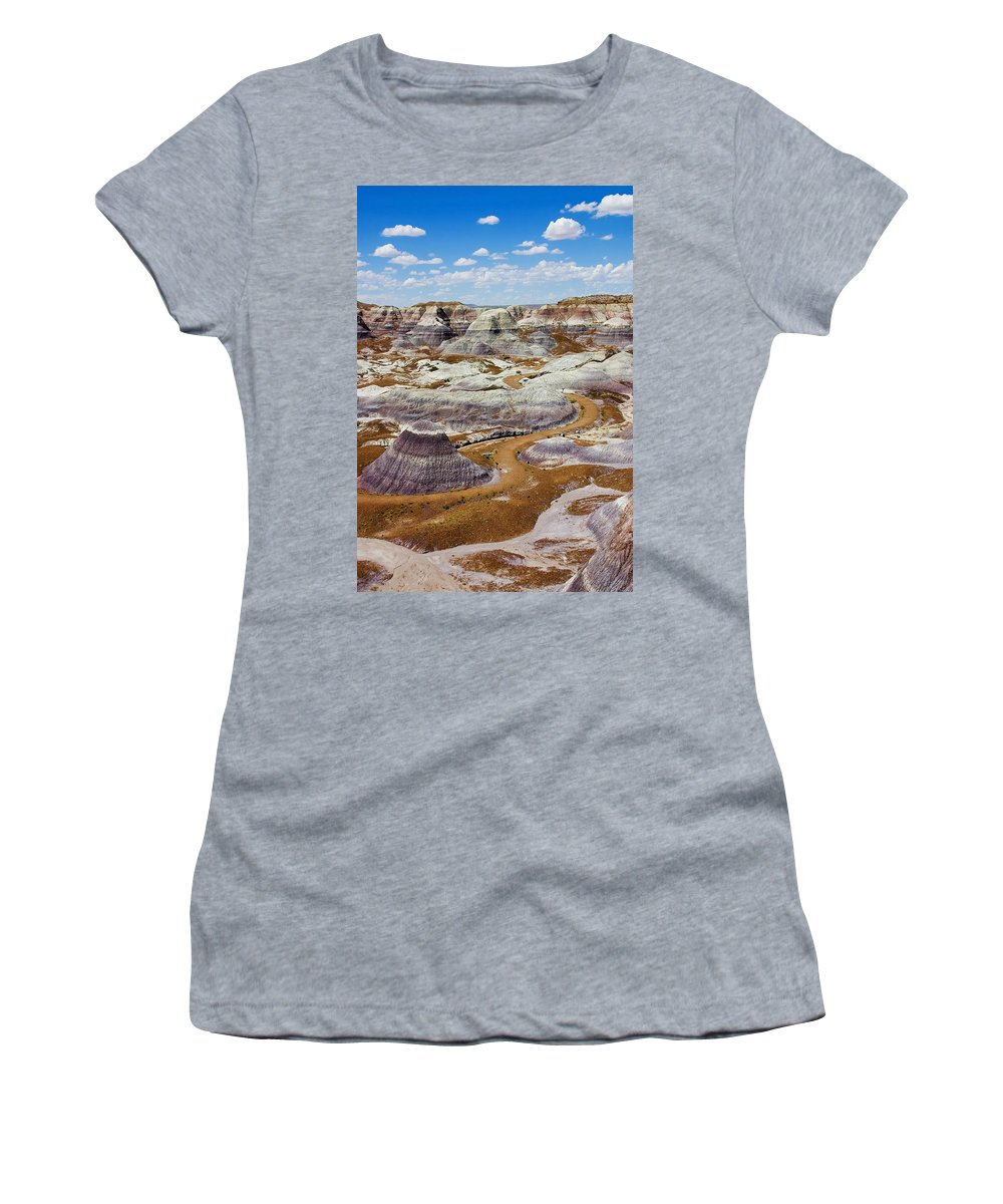 Painted Desert Women's T-Shirt (Athletic Fit) featuring the photograph Yea Though I Walk by Skip Hunt