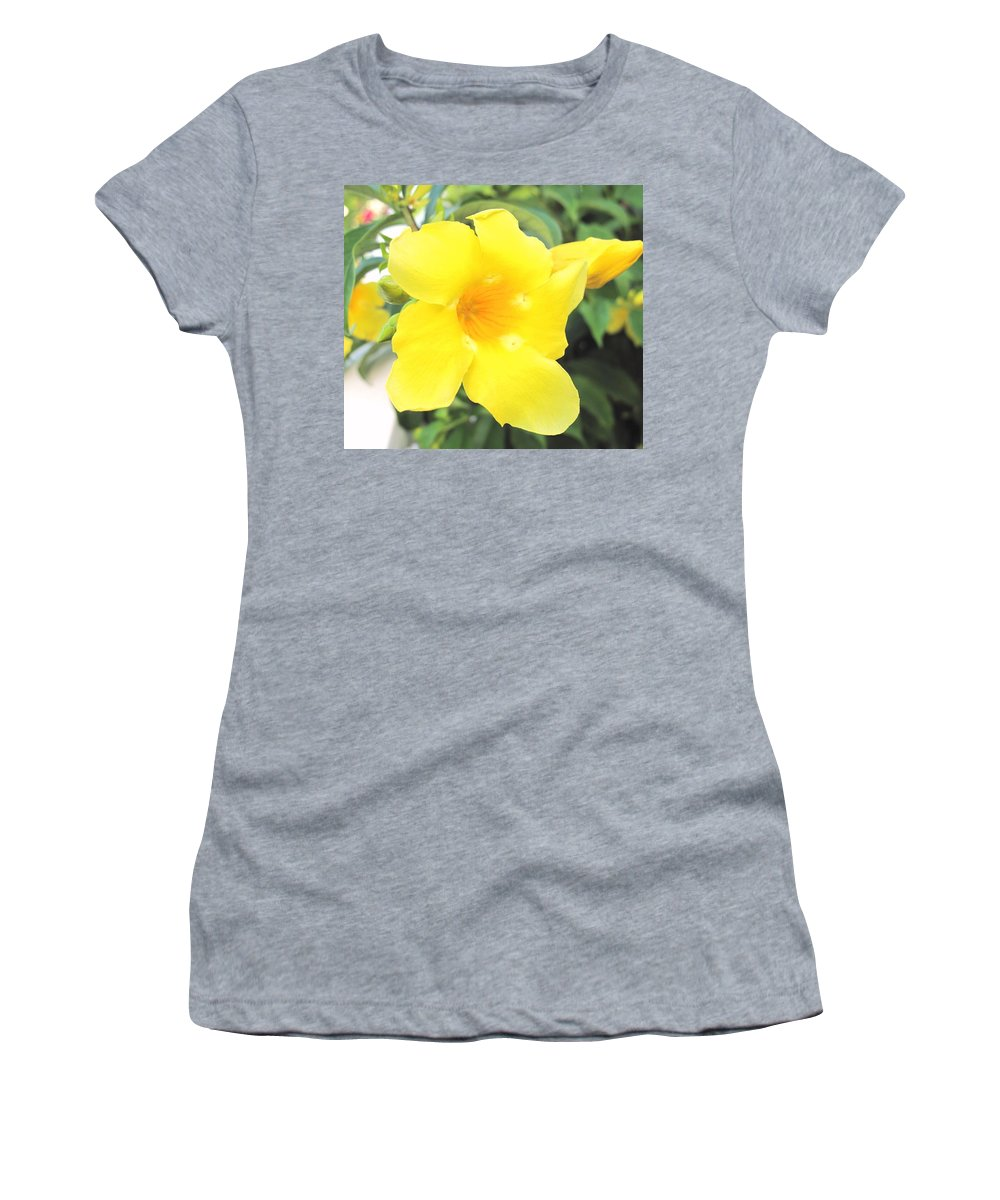 Yellow Women's T-Shirt (Athletic Fit) featuring the photograph Yellow Hibiscus St Kitts by Ian MacDonald