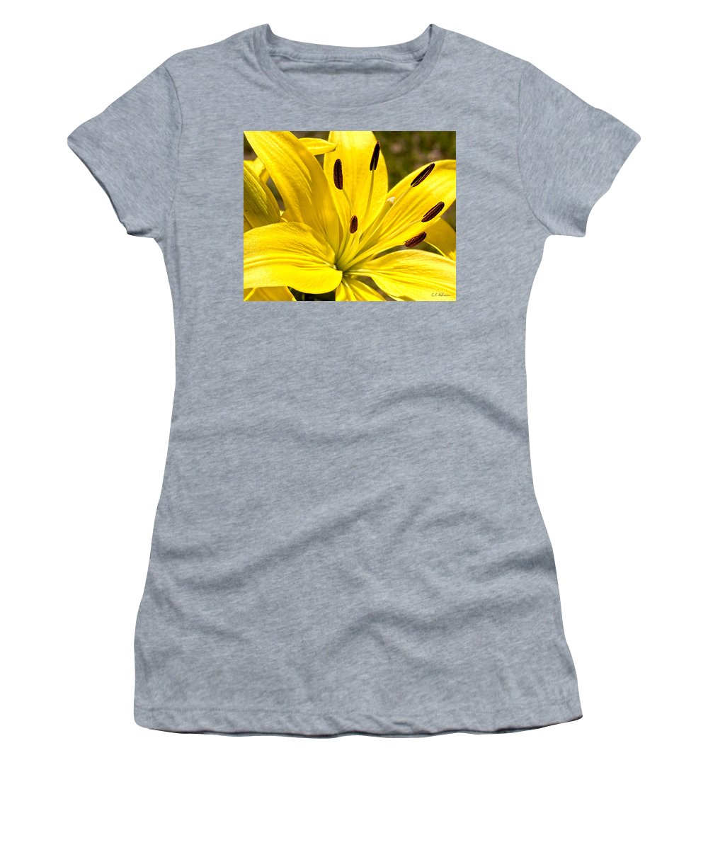 Flower Women's T-Shirt (Athletic Fit) featuring the photograph Yellow Lily by Christopher Holmes