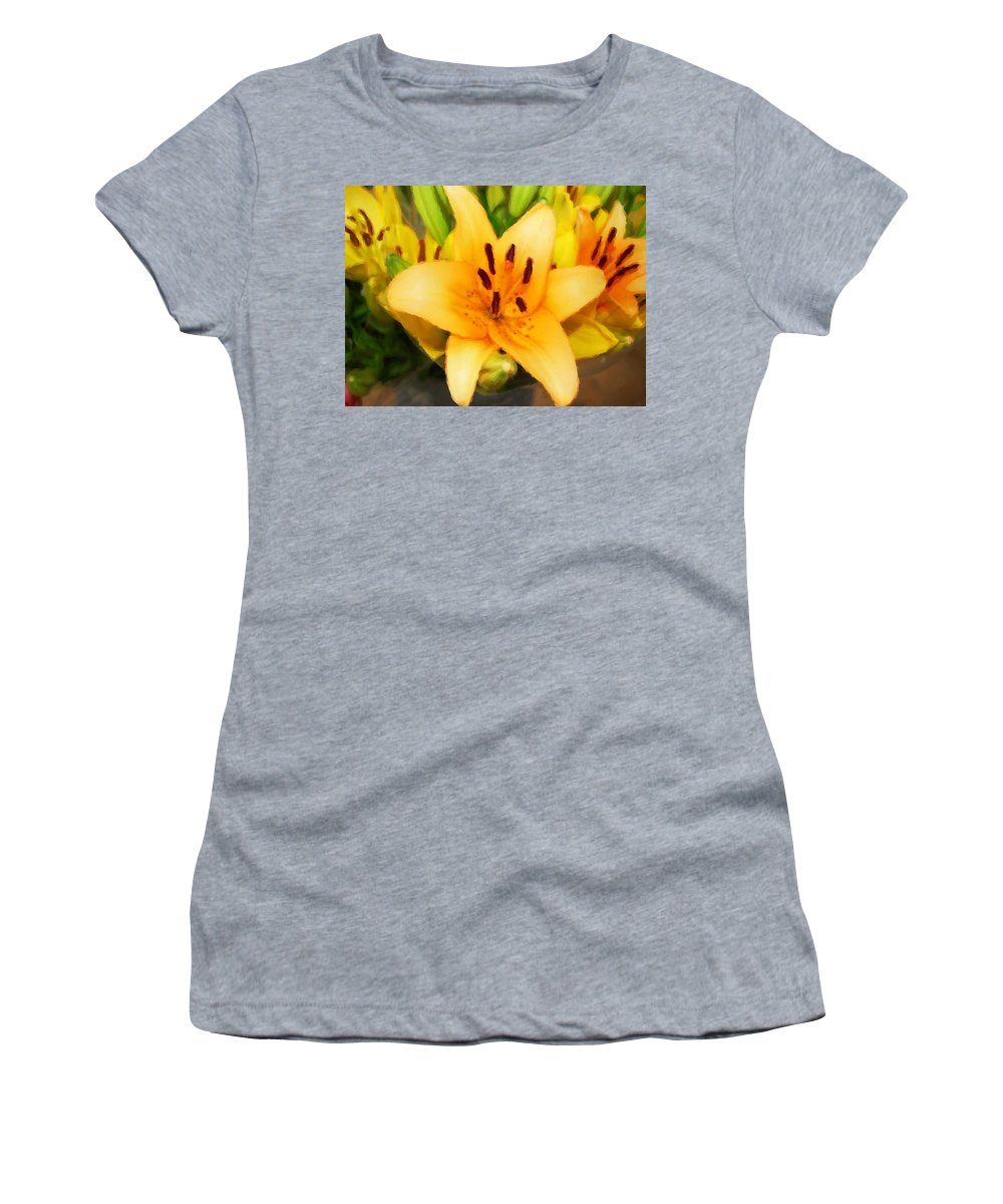 Sunflowers Women's T-Shirt (Athletic Fit) featuring the painting Yellow Lily by Michael Thomas