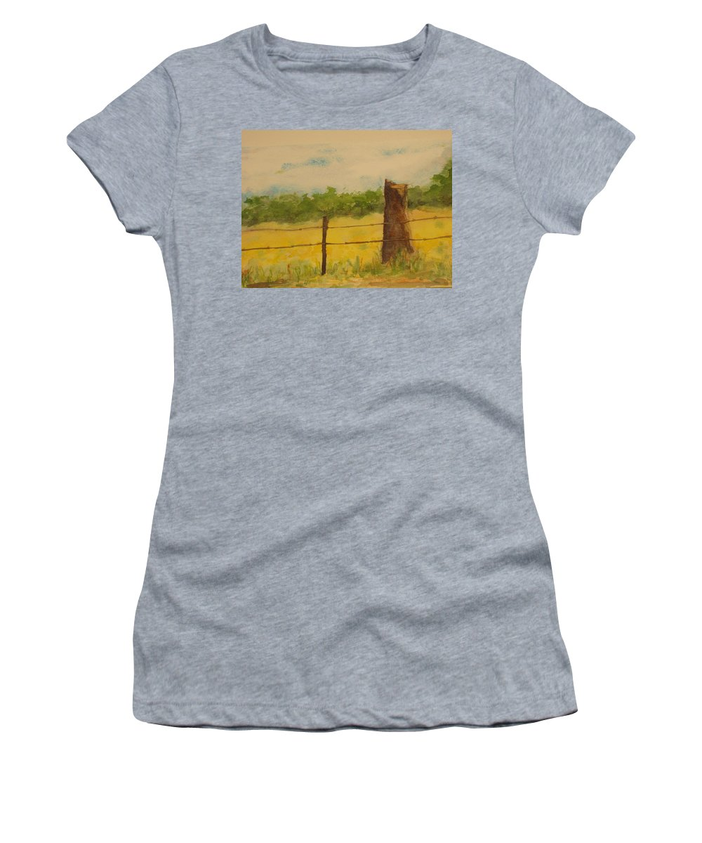 Meadow Women's T-Shirt (Athletic Fit) featuring the painting Yellow Meadow by Vicki Housel