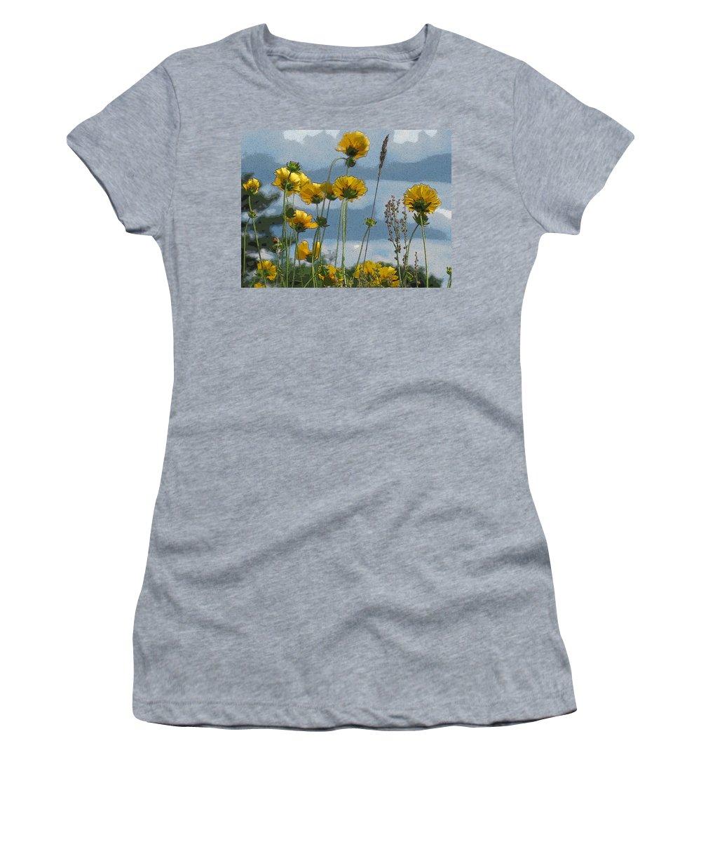 Flowers Women's T-Shirt featuring the photograph Yellow N Blue by Nancie DeMellia