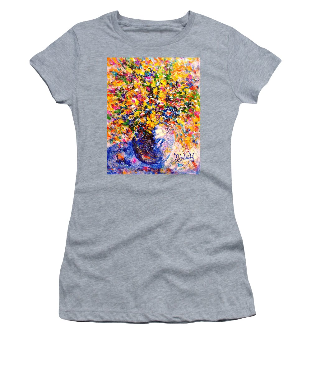 Flowers Women's T-Shirt featuring the painting Yellow Sunshine by Natalie Holland
