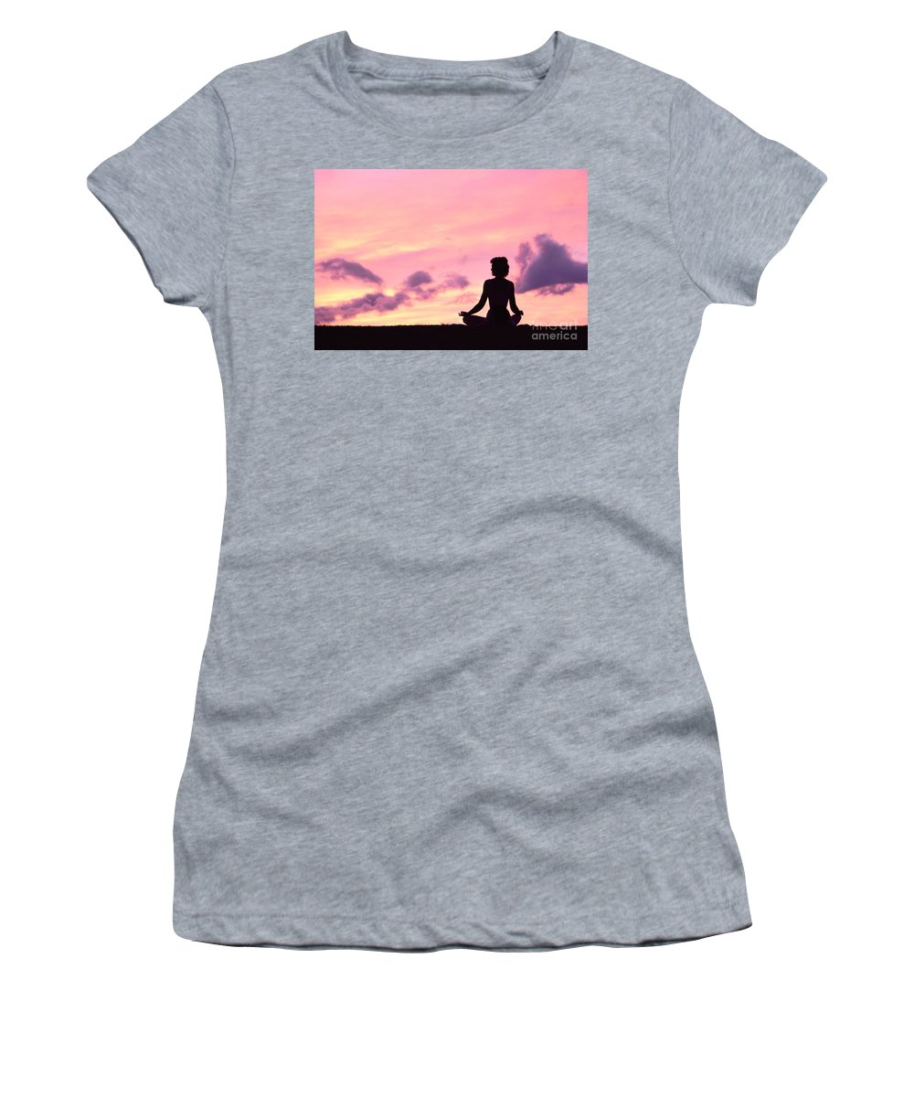 Active Women's T-Shirt (Athletic Fit) featuring the photograph Yoga On Beach by Greg Vaughn - Printscapes