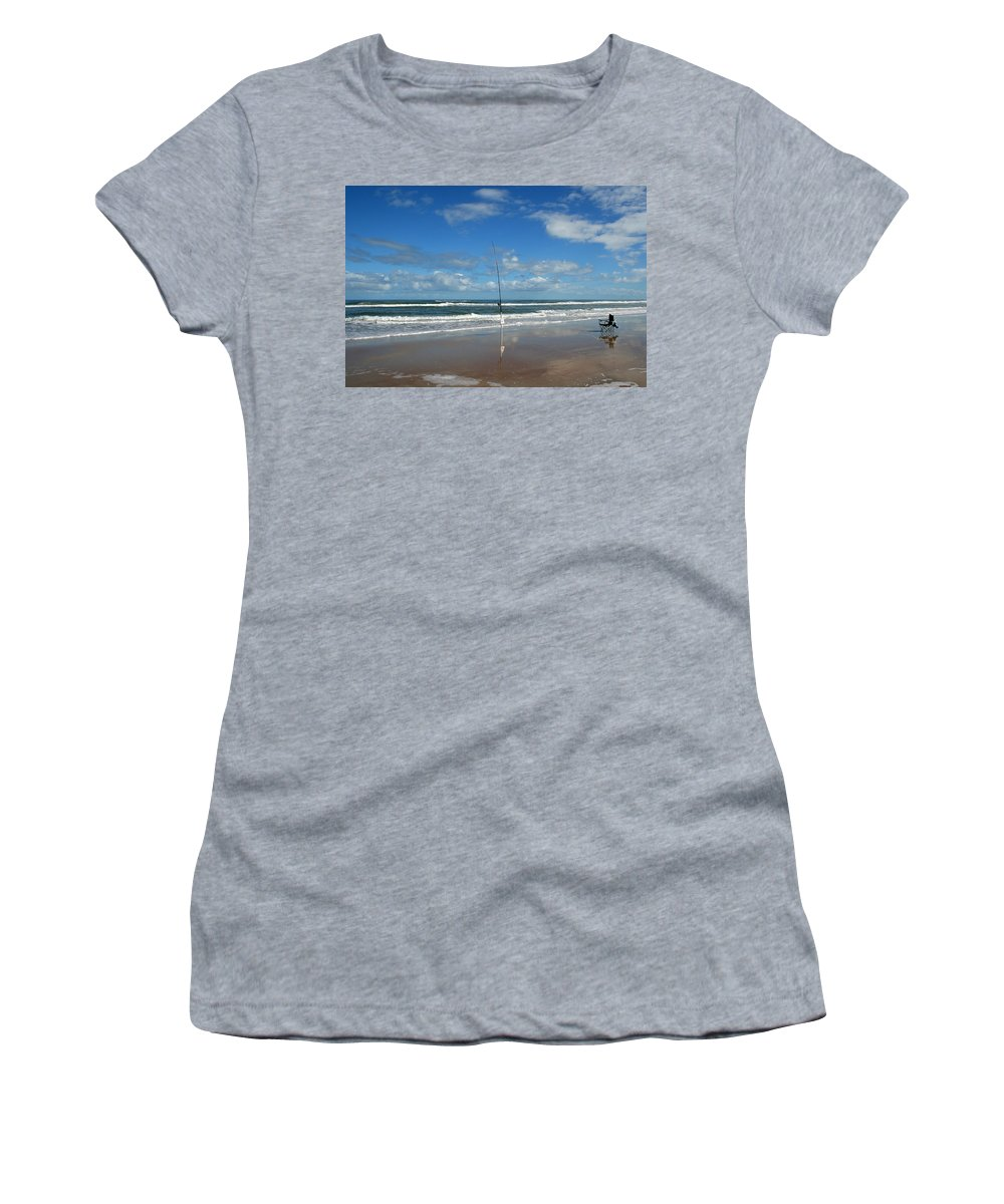 Fish Fishing Vacation Beach Surf Shore Rod Pole Chair Blue Sky Ocean Waves Wave Sun Sunny Bright Women's T-Shirt (Athletic Fit) featuring the photograph You Could Have Been There by Andrei Shliakhau