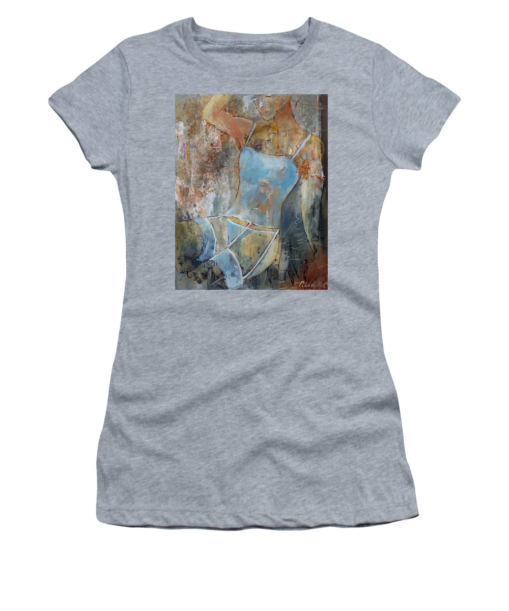 Nude Women's T-Shirt (Athletic Fit) featuring the painting Young Girl 451108 by Pol Ledent