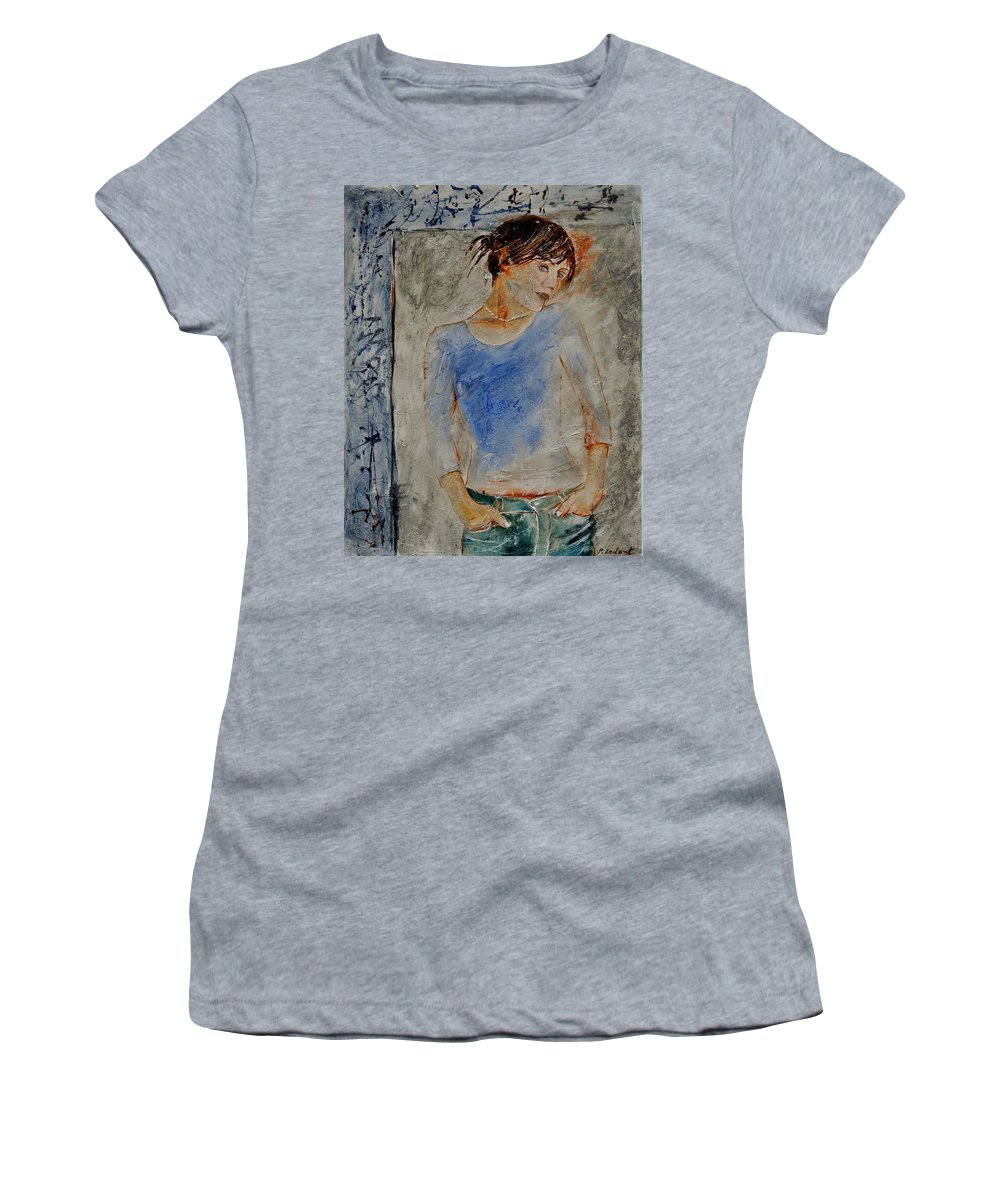 Girl Women's T-Shirt (Athletic Fit) featuring the painting Young Girl 451120 by Pol Ledent