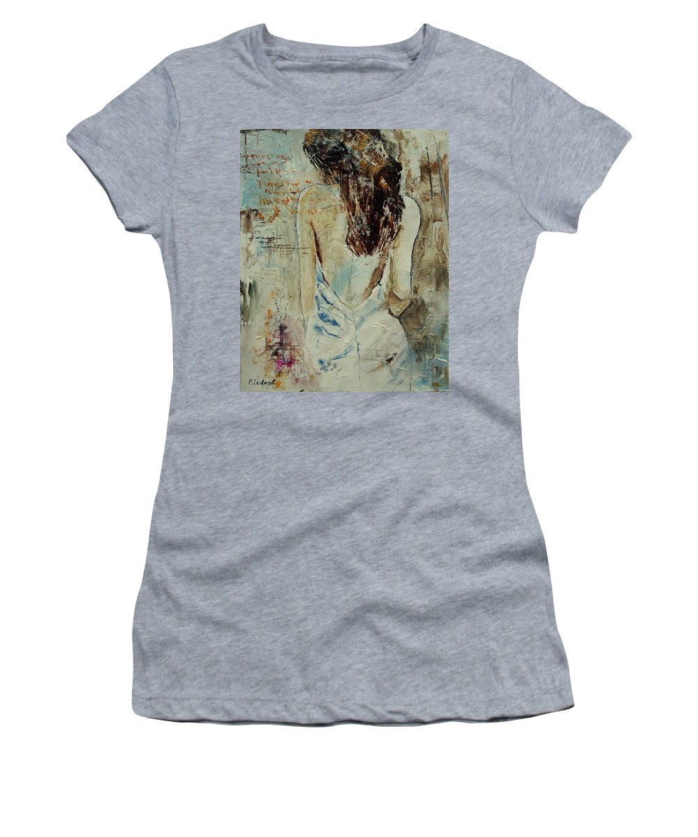 Nude Women's T-Shirt (Athletic Fit) featuring the painting Young Girl 64 by Pol Ledent