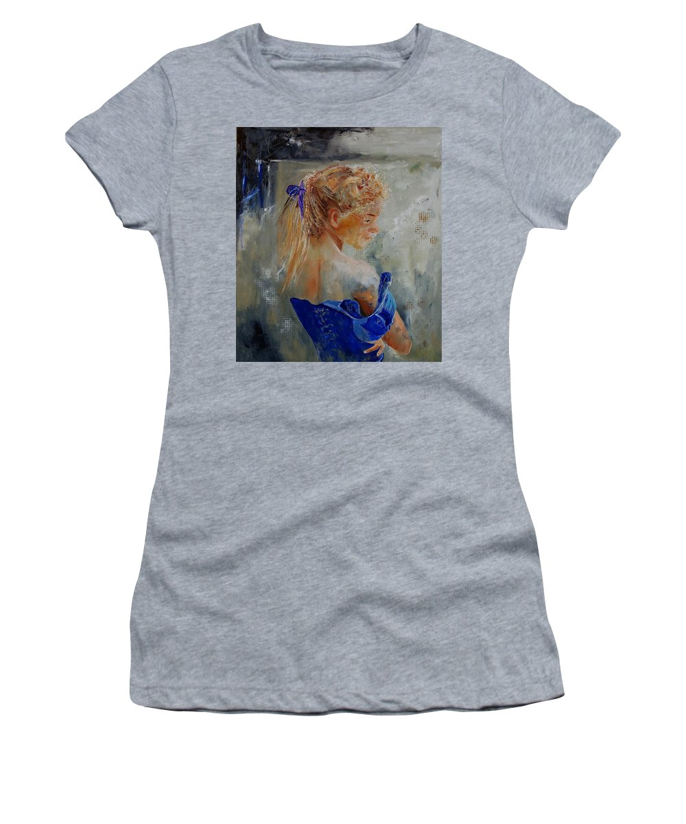 Gir Women's T-Shirt (Athletic Fit) featuring the painting Young Girl 78 by Pol Ledent