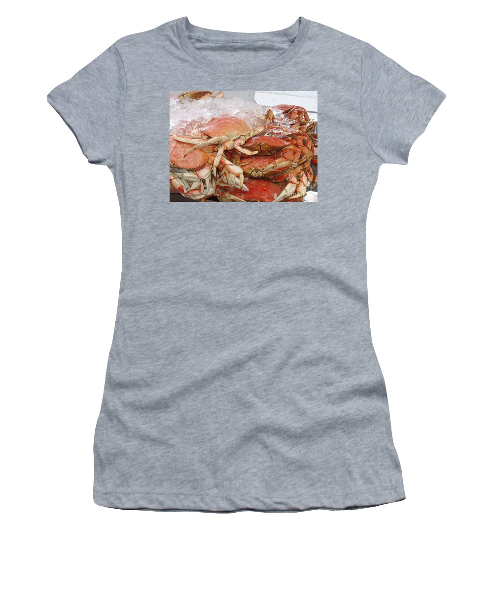 Crabs Women's T-Shirt (Athletic Fit) featuring the photograph Yummy by Deborah Crew-Johnson