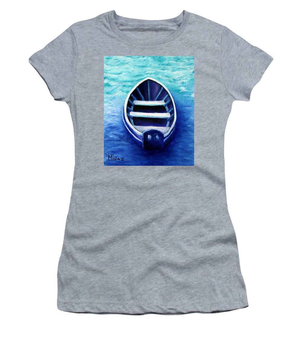 Boat Women's T-Shirt (Athletic Fit) featuring the painting Zen Boat by Minaz Jantz