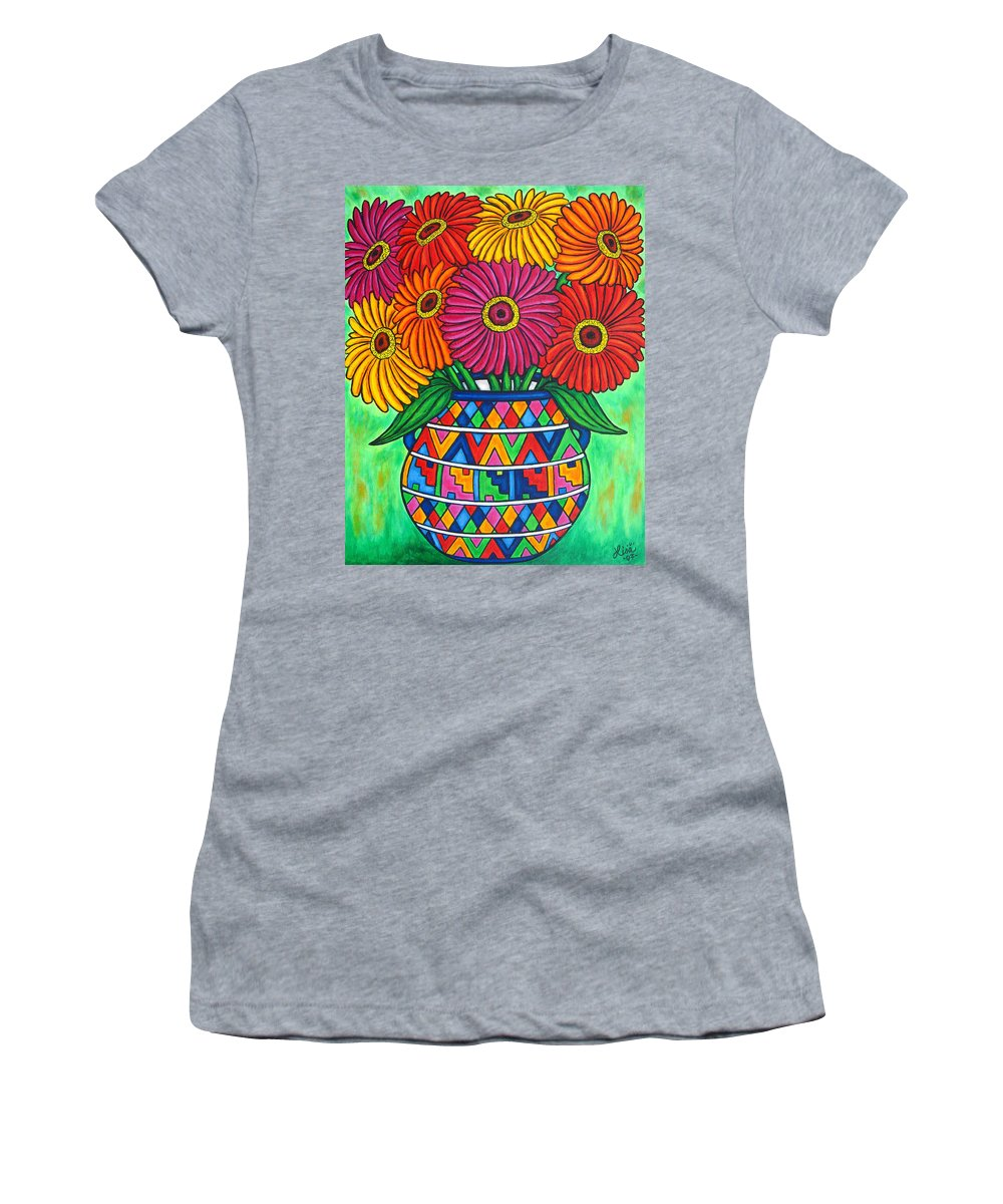 Zinnia Women's T-Shirt featuring the painting Zinnia Fiesta by Lisa Lorenz