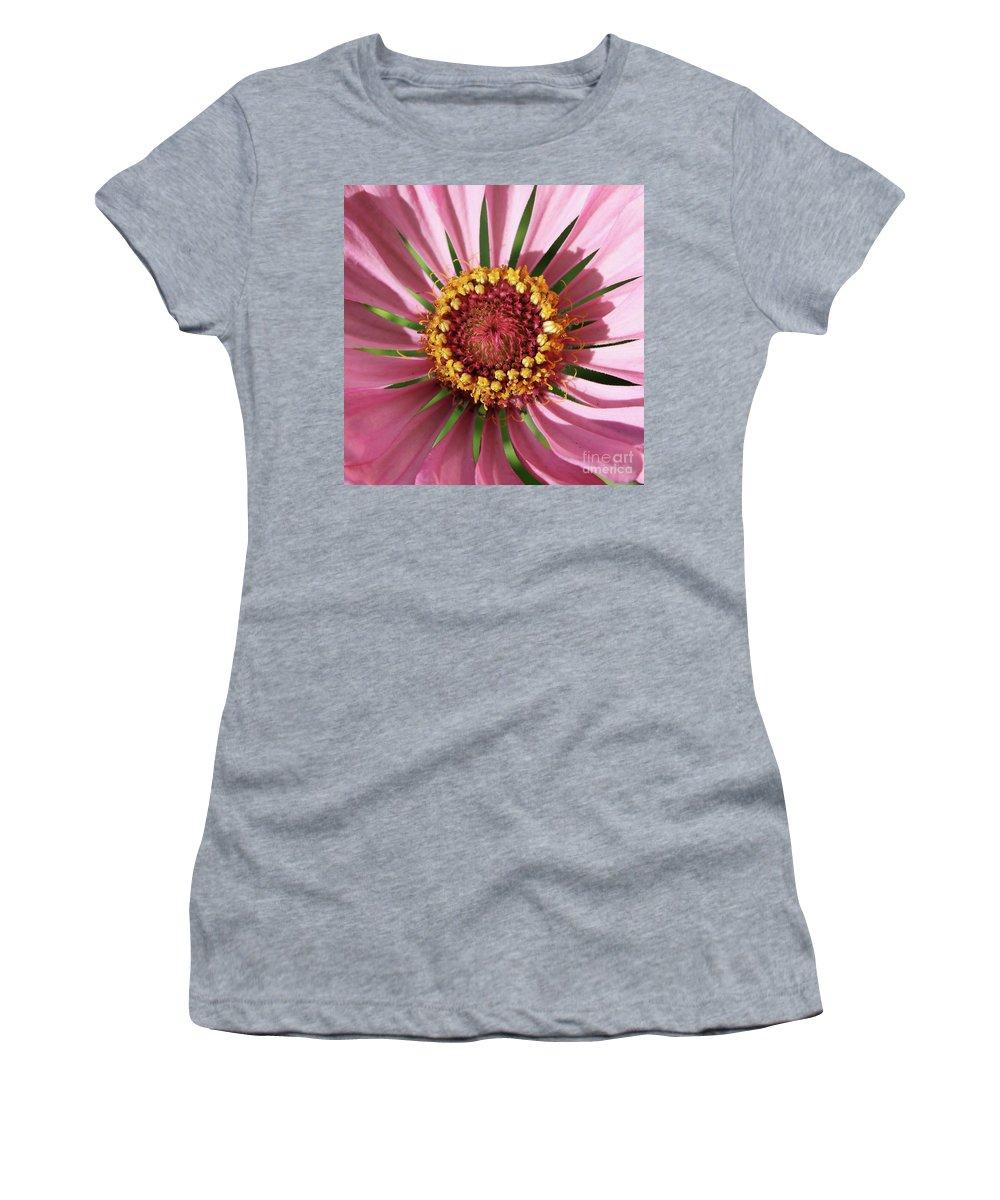 Zinnia Women's T-Shirt (Athletic Fit) featuring the photograph Zinnia - Natural Mandala by Carol Groenen