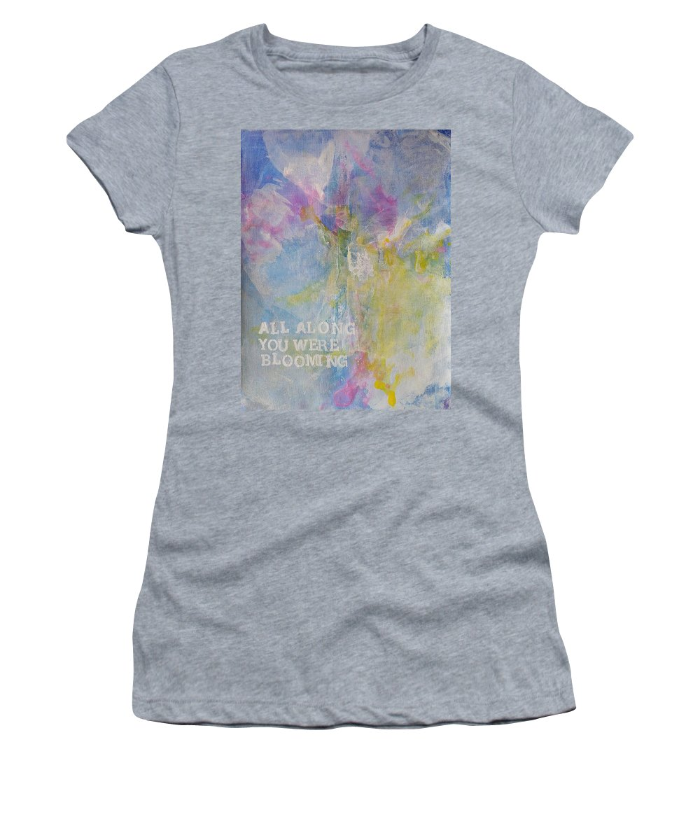 Floral Women's T-Shirt featuring the painting All Along You Were Blooming by A Bacia